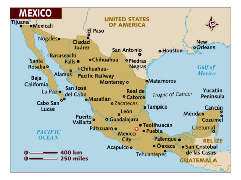 Map of Mexico, North America, Photographic Print